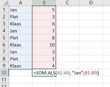 Zo werkt de SOM.ALS formule in Excel